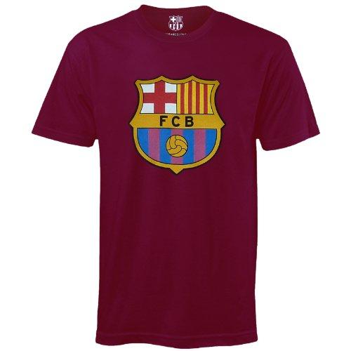 FC Barcelona Kinder T-Shirt mit originalem Fußball-Wappen - Geschenkartikel - Blau - 10-11 Jahre