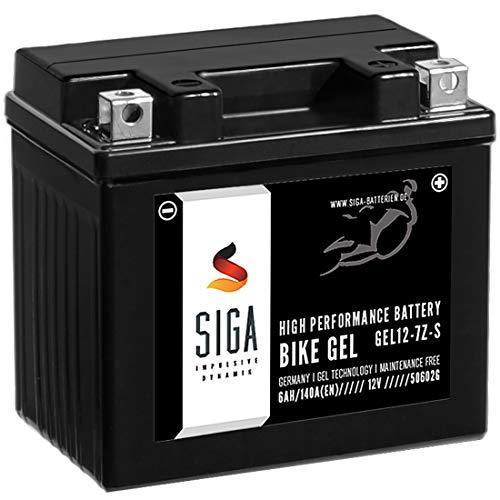 SIGA Gel Motorradbatterie 12V 6Ah 140A/EN Gel Batterie YTZ7S Gel12-7Z-S TTZ7S-BS YTZ7S-4