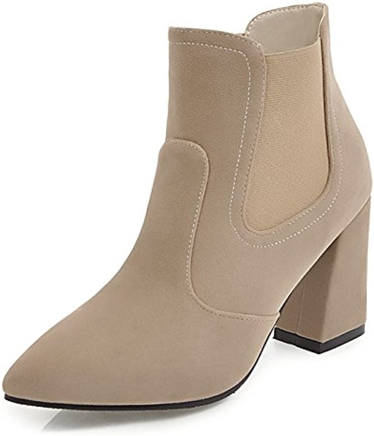 HSXZ Women's shoes Fleece Winter Fall Fashion Boots Bootie Boots Chunky Heel Pointed Toe Booties Ankle Boots MidCalf Boots for Dress Office