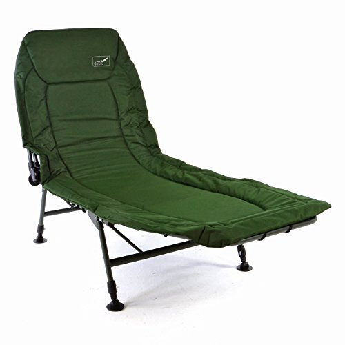 Divero - Profi Karpfenliege Campingliege mit 6 Schlammfüßen Angelliege grün