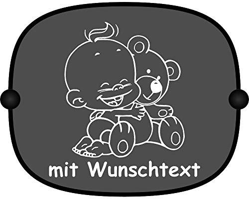 Windel Winni Sonnenschutz Auto Baby Kinder Sonnenblende mit Wunschtext - Motiv WW6 (großer Aufdruck)