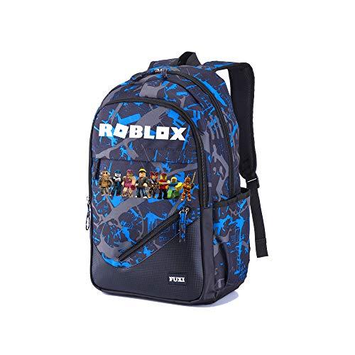 Roblox Mochila Casual Mochila Escolar Mochila de Moda Mochila Deportiva Bolsa de Viaje Impresa Mochila de Ocio (Color : Blue06, Size : 32 X 18 X 48cm)