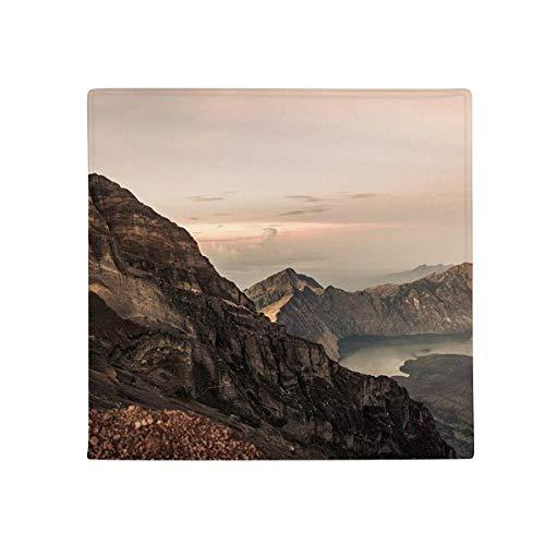 DIYthinker Mountain Desert Sun Brume nuages Lac antidérapant Tapis de Pet de sol carré de salle de bain salon cuisine Porte 60/50 cm Cadeau, Polyester filé, multicolore, 60X60cm
