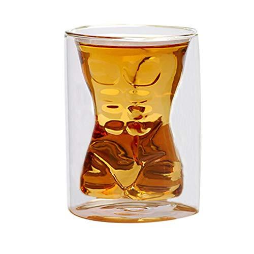 Taza de Cristal licores Muscular Vaso de Cerveza Vidrio de Vino Rojo de Cristal Doble Water Bar Inicio Bar de vinos Vidrio extraña Forma Muscular Vidrio 180ml,Clear