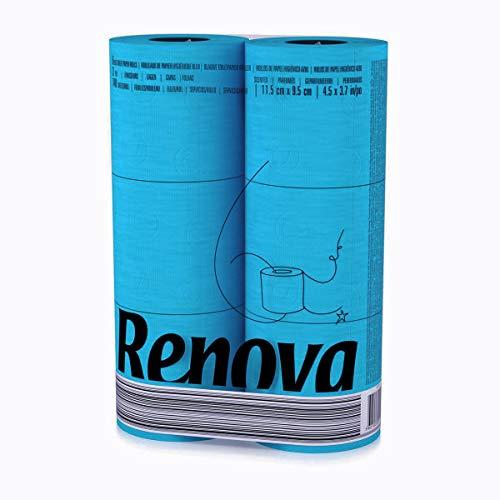 renova 3-8-layer toiletpapierrollen, zacht, Gekleurd, 6stuks blauw