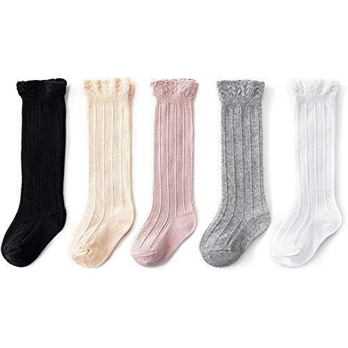 Knee High Socks for Baby Girls Long Stockings Toddler Cotton Tube Socks for Infant Kids 12-36 Months Black&Beige&Pink&Gray&White