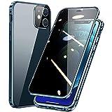 HHZY Funda para iPhone 13 Pro MAX Anti-Spy Carcasa con Anti-Peep Privacy Vidrio Templado Protector de Lente de Cámara Cover,Adsorción Magnética Metal Marco Anti-Pío Case,Azul,For 13 Mini