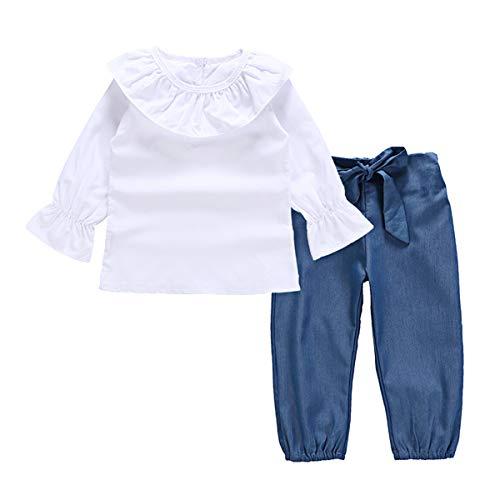 Haokaini 2-6Y Baby Meisjes Ruffled Tops Shirt Outfits Blouse Tees Strik Broek Outfits Kleding