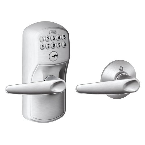 Schlage FE575 PLY 626 JAZ Plymouth Keypad Entry with Auto-Lock and Jazz Levers, Brushed Chrome