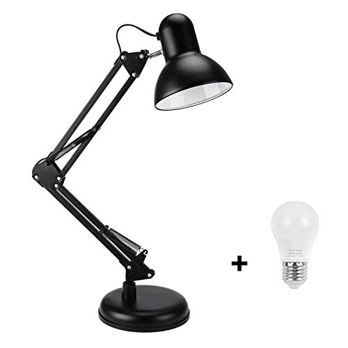 Swing Arm Desk Lamp,Table Lamp,Extra LED Bulb & Clamp,Metal Structure, Adjustable Shade Position, Architect Lamp for Office/Home/Dorm-Black