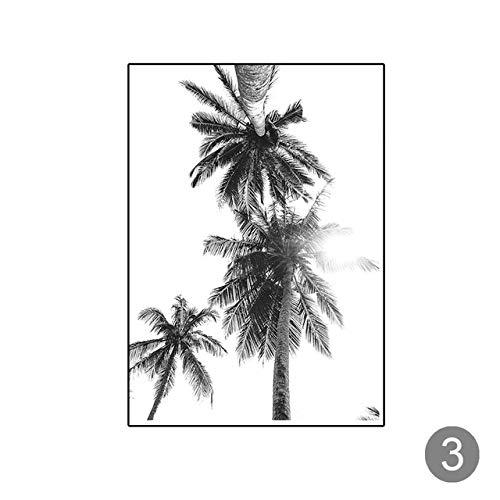 LiMengQi2 Nordic Bild von Tropical Palm Tree leinwand malerei schwarz weiß Strand Poster drucken Landschaft wandkunst Bild für Wohnzimmer Dekoration (kein Rahmen)