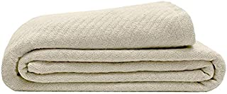 Elite Home 100% GOTS Certified Organic Cotton Super-Soft Bed/Throw Blanket, Oat, Twin