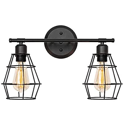 Bathroom Vanity Light, Industrial Metal Cage Wall Sconce, Vintage Edison Wall Light Fixture for for Mirror Cabinets, Vanity Table, Bathroom (2-Light Vanity Light)
