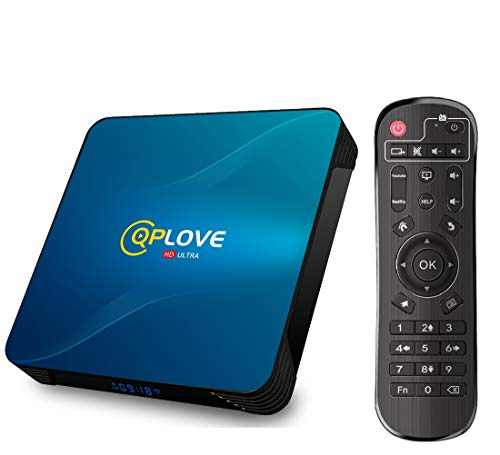 QPLOVE Q8 TV Box Android 10.0, Android TV Box (4G+128G), Android RK3318 Quad-Core 64bit Cortex-A53/WIFI 2.4G/5Ghz LAN 100M, 4K Android TV Box