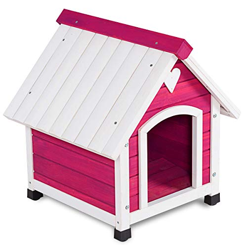 Tangkula Wooden Dog House Outdoor Indoor Lovely Pet Shelter Wood Kennel Weather Resistant Pet House Home