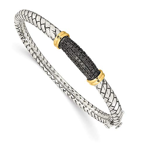 Sterling Silver and 14k Yellow Gold Black Diamond Bangle Bracelet