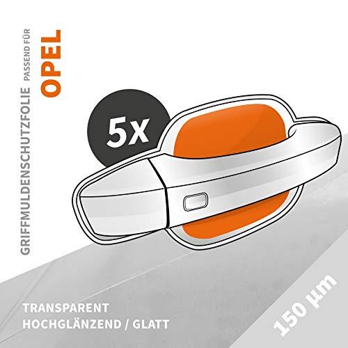 Griffmuldenschutz | Griffmuldenschutzfolie › passgenau für: Opel Mokka X ab BJ 09/2016 ✓ Hochtransparent-Glänzend/Glatt ✓ Stärke 150 µm (0,15mm)