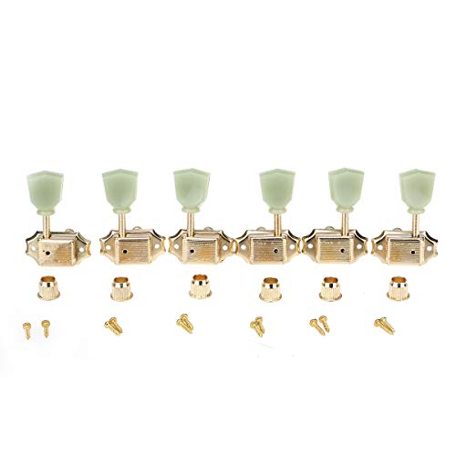 Wilkinson 3L3R Deluxe Vintage Keystone Style Guitar Tuners Machine Heads Tuning Pegs Keys Set Compatible with USA Les Paul or Epiphone Les Paul, Gold