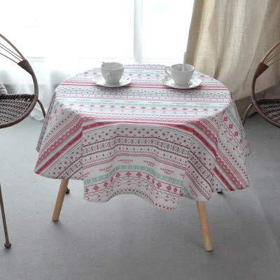 MKHB Nordic polyester katoen tafel rond stof kleur geel rijst grijs pijl katoen en linnen tafelkleed bedrukt rond 100 cm tafelkleed