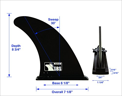 """Santa Barbara Surfing SBS 9"""" iSUP Fin - Quick Release Slide in Fin for Inflatable Paddleboard (Aqua Marina, Vilano, etc) 2 PLEASE REVIEW OUR COMPATIBILITY LIST: This is a """"Slide In"""" fin for some inflatable paddleboards. See our compatibility list in the photos for what boards this fits. Some examples: Aqua Marina, Vilano, Cohete, etc. UPGRADED PERFORMANCE: Our stronger iSUP Slide fin will improve your board's tracking, meaning less stroke changes DIMENSIONS: 9"""" with standard width and sweep"""