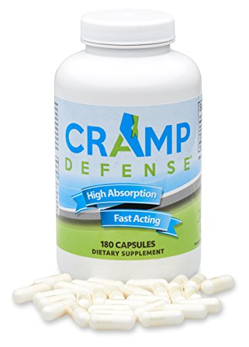 Cramp Defense Magnesium for Leg Cramps, Muscle Cramps & Muscle Spasms. End Them Fast and Permanently. Organic Magnesium, Non-Laxative, NO Magnesium Oxide OR Herbs! Big 180 Capsule Bottle.