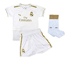 Champion's City Conjunto Complet Infantil Real Madrid Réplica Oficial Licenciado de la Primera Equipación Temporada 2019-2020 Dorsal Liso