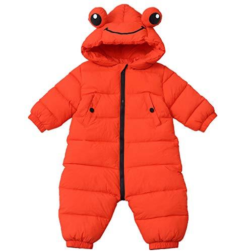 Baby Schneeanzug Overall Winter Strampler mit Kapuze Jungen Mädchen Kinder Winddicht Oberbekleidung Frosch Rot 2-3 Jahre