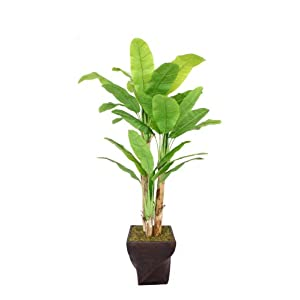 Vintage Home 82″ Tall Banana Tree with Real Touch Leaves in Planter Artificial Plant, Brown