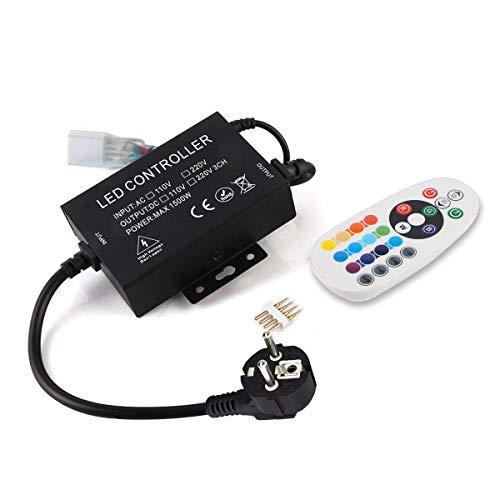 GreenSun Contrôleur de télécommande RF à 24 boutons, portée 15M, AC220V, 1500W, 433.92MHz, pour 5050 SMD RGB LED Bande Strip