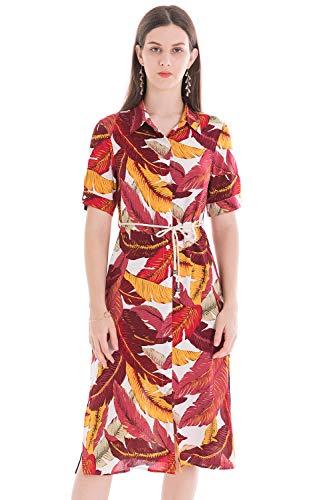 Vestido Estampado Floral Mujer, Manga Corta Cierre Frontal con Botones, Verano