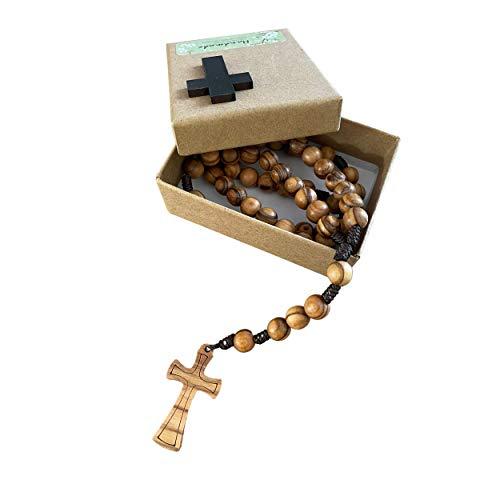 Ampals,Rosario hecho a mano en madera de olivo en Jerusalén, Rosario en caja de papel Kraft con crucifijo,Regalo de bautismo,Comunión,Fiestas cristianas,Nacimiento,Cumpleaños,Protección del automóvil
