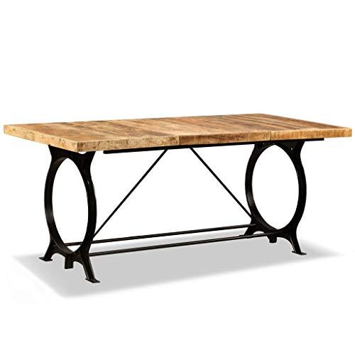 vidaXL Raues Mangoholz Massiv Esszimmertisch Industrial Küchentisch Esstisch Speisetisch Tisch Holztisch Massivholztisch 180cm Stahlbeine