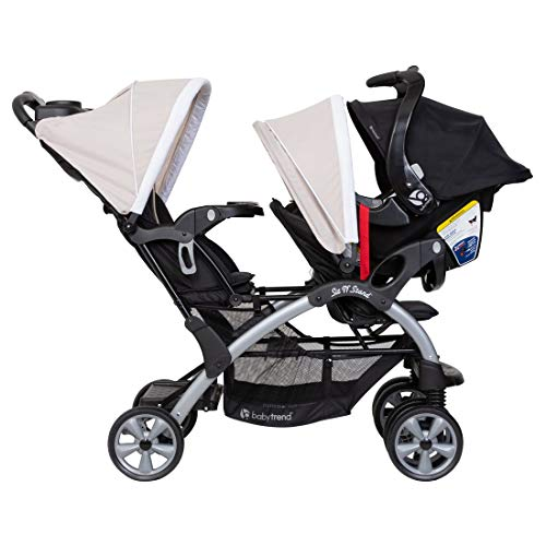 Baby Trend Sit N Stand Compact Easy Fold Toddler Baby Infant Double Stroller with Baby Trend Ally 35 Baby Infant Car Seat Carrier with Cozy Cover