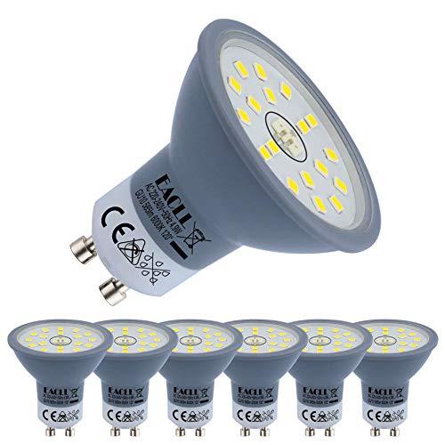 EACLL Bombillas LED GU10 6000K Blanco Frio 4.9W Fuente de Luz 585 Lúmenes Equivalente 50W Halógena Lámpara. AC 230V Sin Parpadeo Focos, 120 ° Luz Diurna Blanca Fría Reflectoras Spotlight, 6 Pack