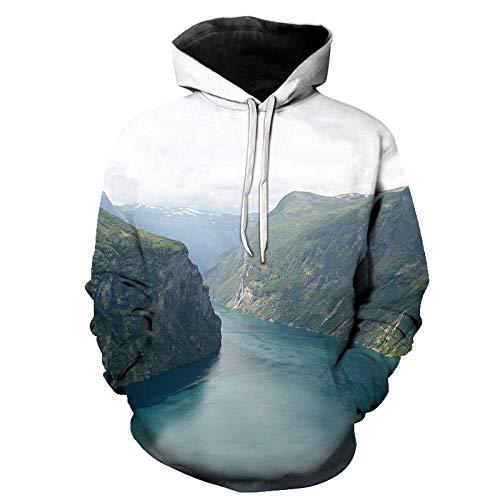 Landschap Schilderen Unisex 3D Gedrukte Hoodies Lange Mouwen Streetwear Koppels Trui met Grote Pocket en Trekkoord Unieke Sweatshirts