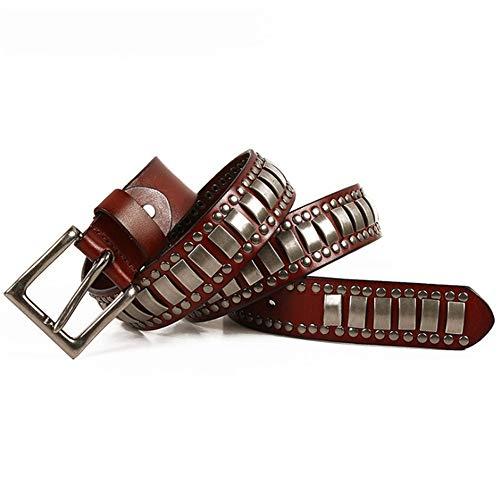 Keliour-bel Cinturones tachonados Unisex Cinturón de Cuero para Hombres, Mujeres, Adultos, Cinturones góticos, Hecho a Mano, Steampunk, con Tachuelas, Punk Rock, Blet, Negro, marrón, Coffe, Cintu