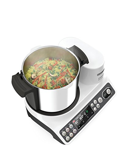 Kenwood CCL401WH kCook Multi Smart Robot da Cucina Food Processor con Funzione Cottura, 10 Accessori Inclusi, Acciaio inossidabile/Plastica, Bianco