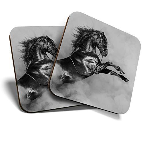 Great Posavasos (juego de 2) cuadrados BW – Caballo negro Español/Posavasos de calidad brillante/protección de mesa para cualquier tipo de mesa #35251