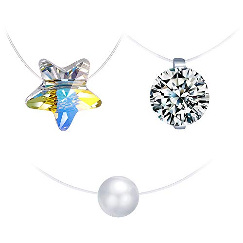 Collar de plata esterlina 925 para mujer, gargantilla, collar de clavícula invisible, collar de perlas, collar de estrellas de cristal, conjuntos de joyas, juego de 3 piezas