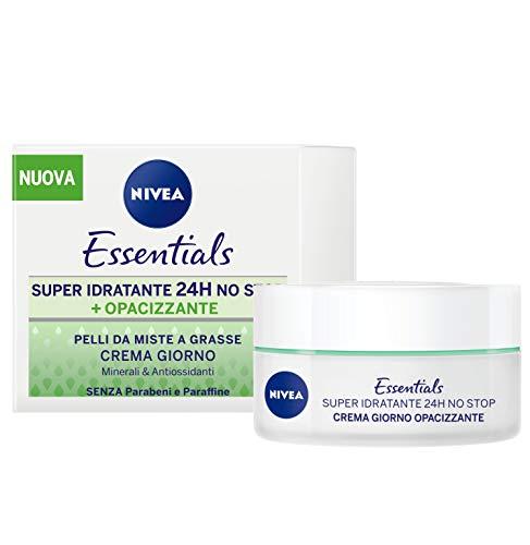 Nivea Essentials Super Idratante 24H Opacizzante, Crema Giorno Viso per Pelli da Miste a Grasse, 50ml