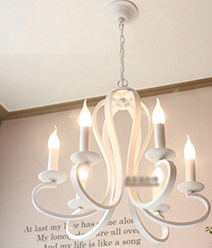 NAUY Lampada Moderna Moderna di Moda di Pasta Candela LED Lampadario di Sala da Pranzo Ristorante Camera da Letto Studio lampade del Gomito del Ferro (Colore : Bianca-6-head)