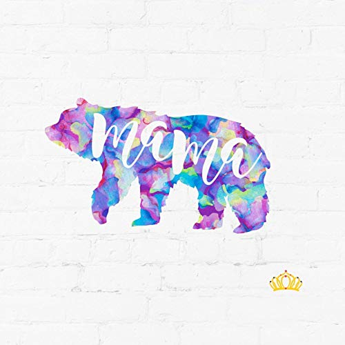 Mama Bear Silhouette Mom Quote Vinyl Decal | Cute Mama Sticker for Yeti Tumbler, Laptop, Mug, Car Window Accessories for Women | Gift for Mom | Purple Watercolor 2 inches x 3.5 inches