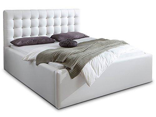 Luxus Polsterbett mit Bettkasten Selly mit Zirkonia Steinen XXL Kunslederbett Doppelbett Ehebett Weiß (180x200cm) - 6