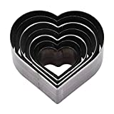 7pcs Leather Die Cutter Hollow Punching Tool Heart Shaped Cutting Mold 20-50mm Punching Die Set for Bag Belt Wallet Handmade DIY Leather Craft
