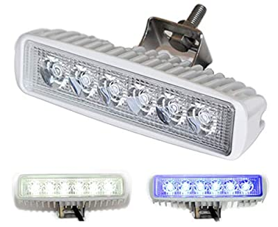 Wave One Marine | Dual Color | LED Marine Spreader Light | Boat Deck Flood Beam | Stainless Hardware & Bracket | IP68 | High Lumen Output (White Housing, White | Blue)