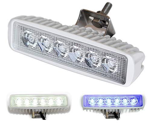 Wave One Marine | Dual Color | LED Marine Spreader Light | Boat Deck Flood Beam | Stainless Hardware & Bracket | IP68 | High Lumen Output (White Housing, White | Blue)
