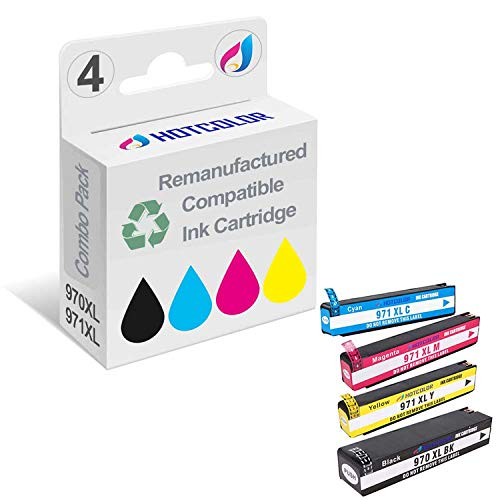HOTCOLOR Remanufactured Ink Cartridge Replacement for HP 970XL HP 971XL (Black, Cyan, Magenta, Yellow, 4-Pack)