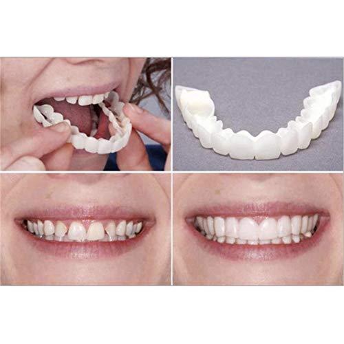 URFEDA Denti per cosmetici Impiallacciature Istantanee Sorriso Sicuro Denti in Silicone Comfort Temporanei Bianchi Copri-Denti finti per Uomini e Donne - 1 paio