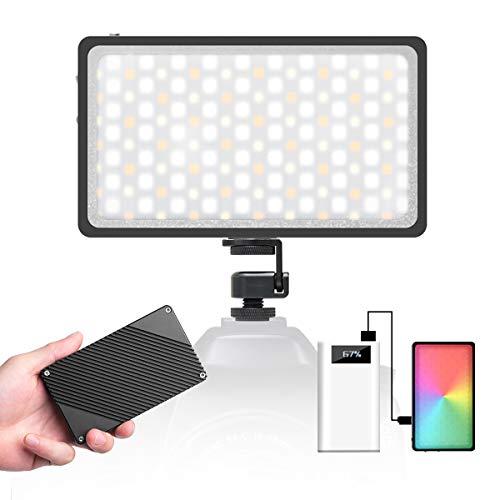 Moman RGB Antorcha-Led-Foco-Vídeo-Cámara, Panel Led Fotografia DSLR 2500K-8500K CRI 96+, Luz Reflex Portátil Super Compacta 300g con Pantalla OLED, Cable Tipo-C Incluida
