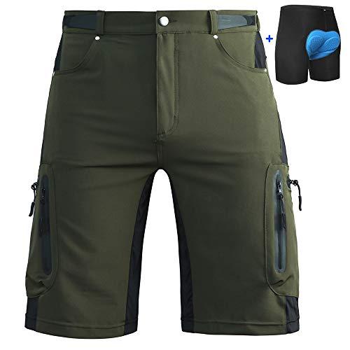 Cycorld Mountain Bike Shorts Mens MTB Biking Baggy Padded Cycling Short Removable Padding Liner Green